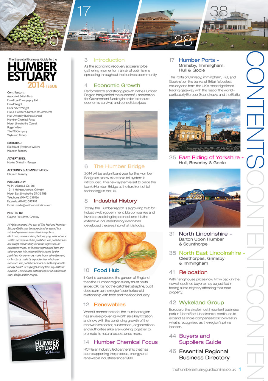 Humber Estuary 2014 Guide Contents Page