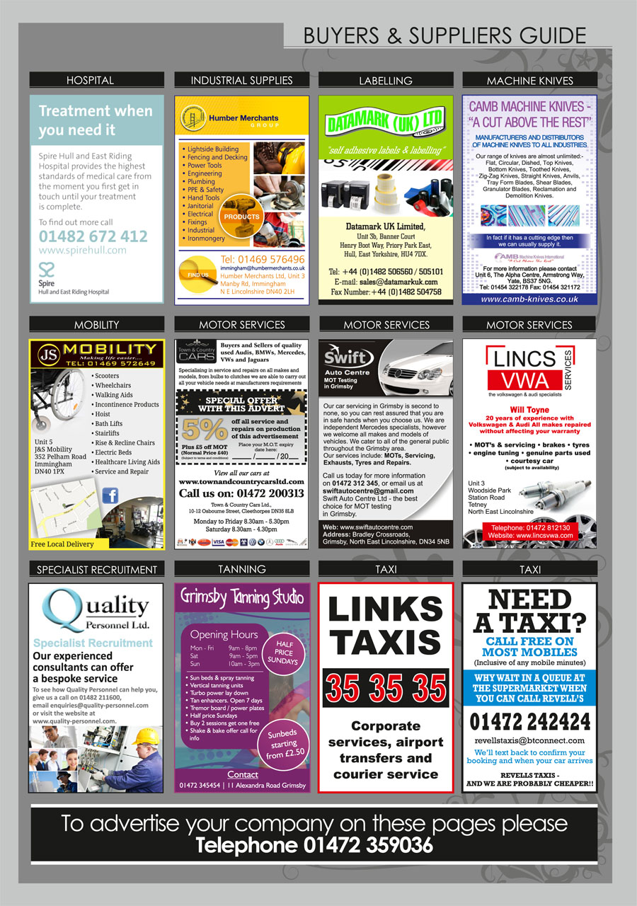 North East Lincolnshire County Guide September 2014 Buyers & Suppliers Guide page 2