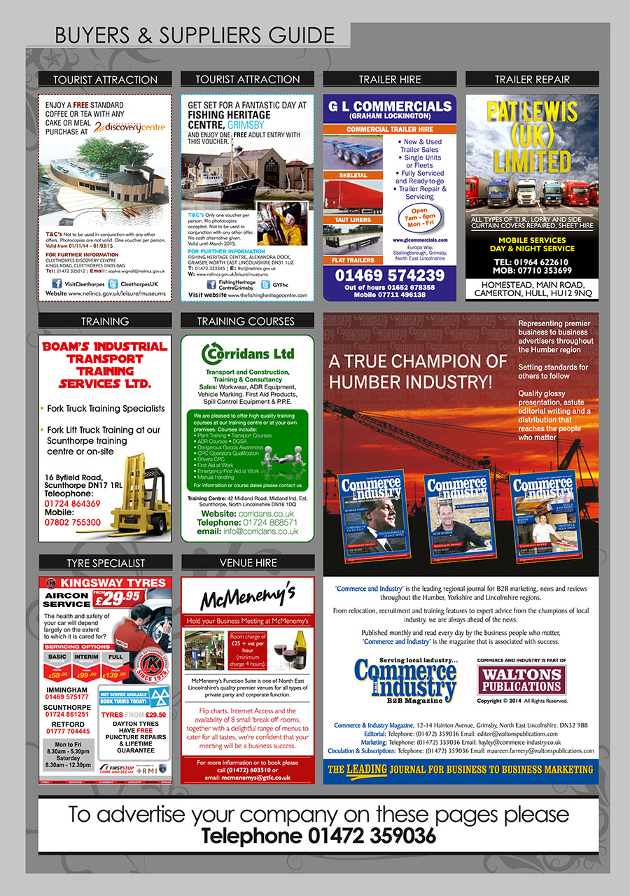 North East Lincolnshire County Guide September 2014 Buyers & Suppliers Guide page 3